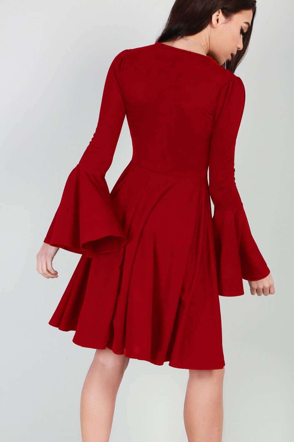 Abbie Frill Sleeve Skater Midi Dress - bejealous-com
