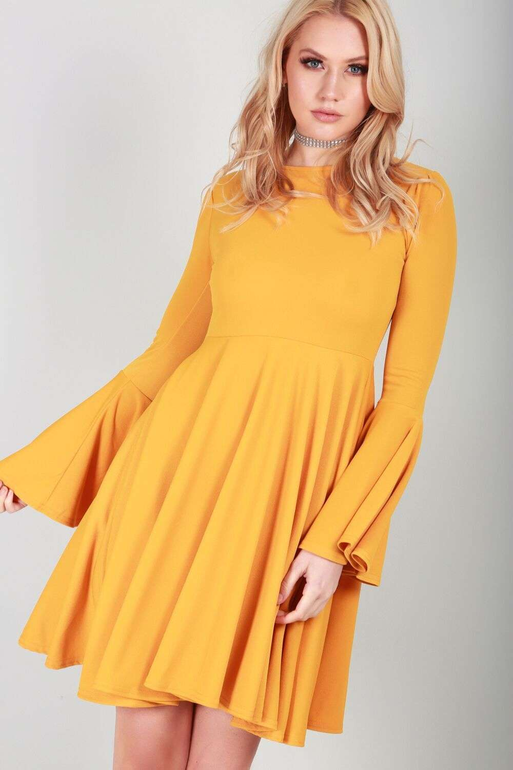 Abbie Long Sleeve Floaty Skater Dress - bejealous-com