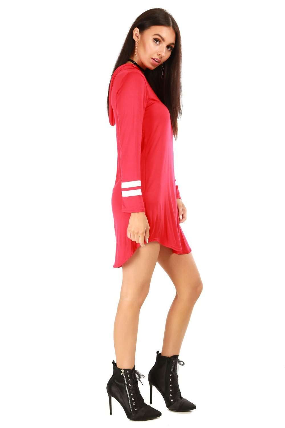 Alaskia Striped Sleeve Hooded Tshirt Dress - bejealous-com