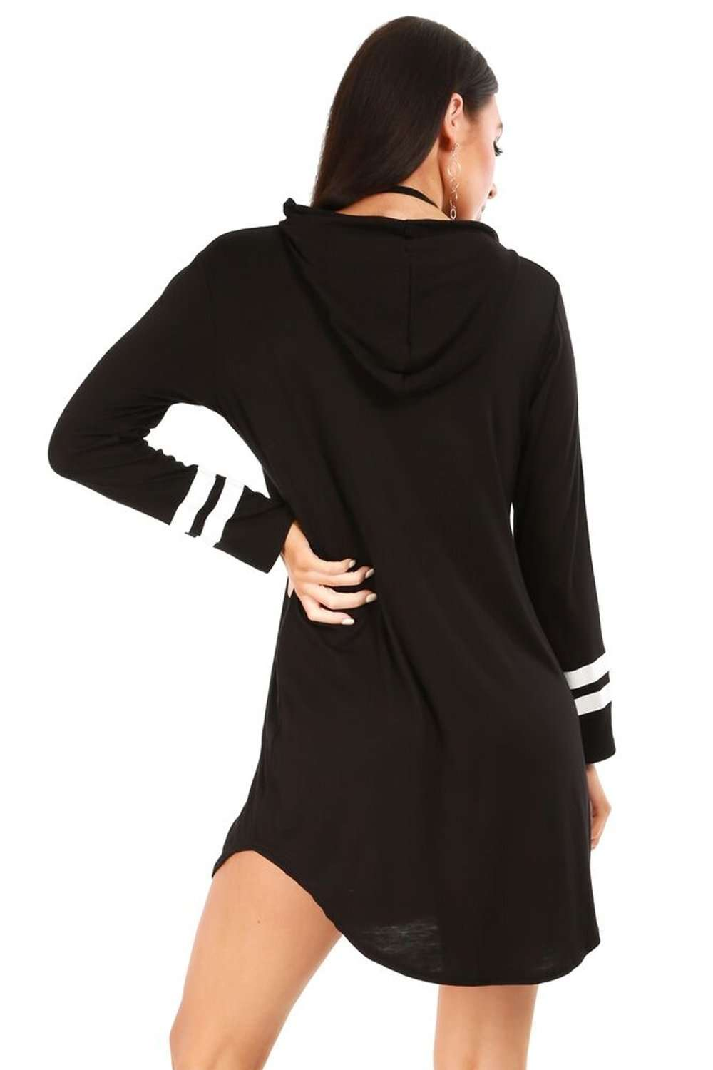 Alaskia Striped Sleeve Oversized Hooded Tshirt Dress - bejealous-com