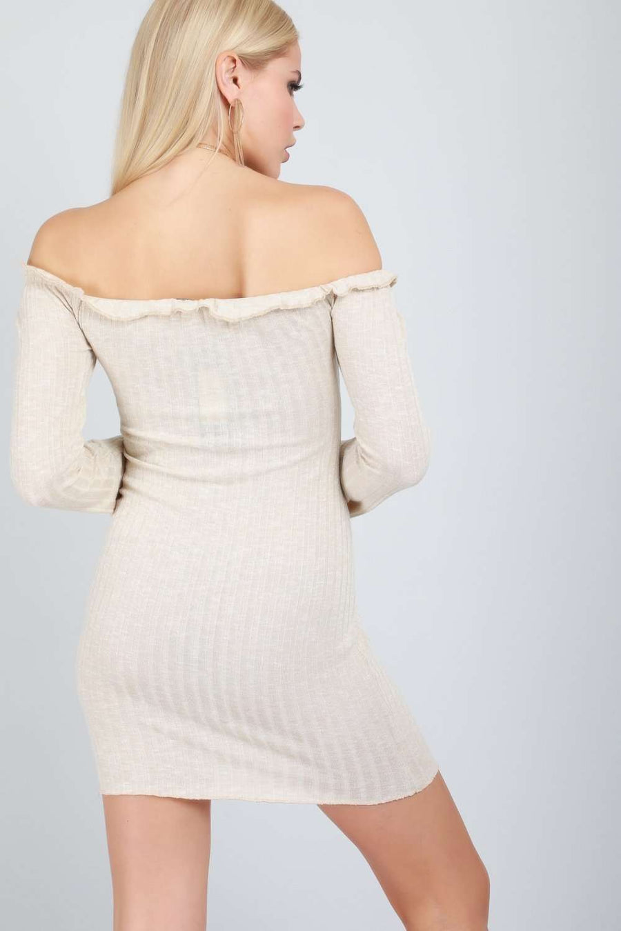 Alexia Bardot Button Front Knitted Mini Dress - bejealous-com