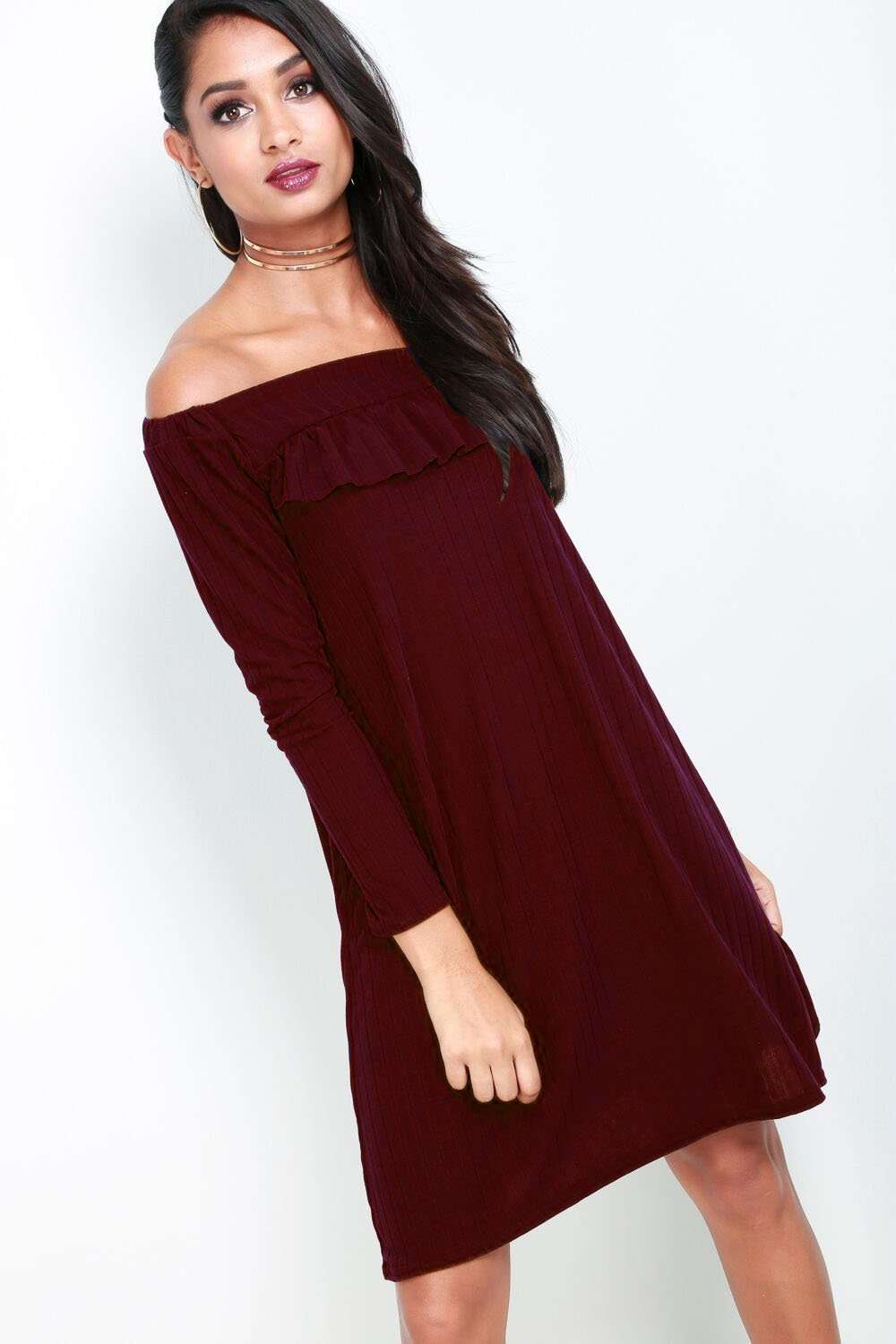 Alexia Bardot Long Sleeve Ribbed Mini Dress - bejealous-com