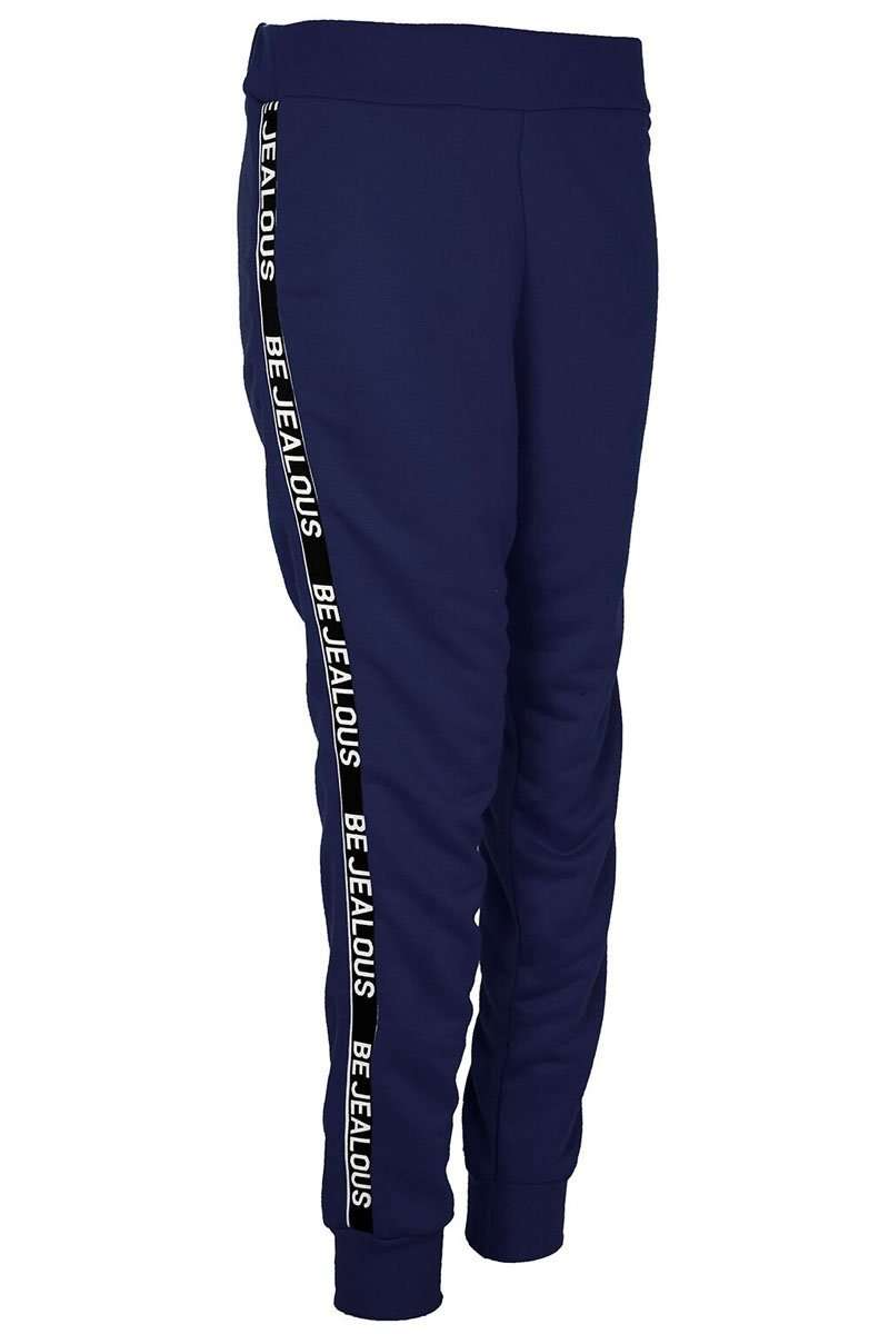 Ali Be Jealous Slogan Striped Joggers - bejealous-com