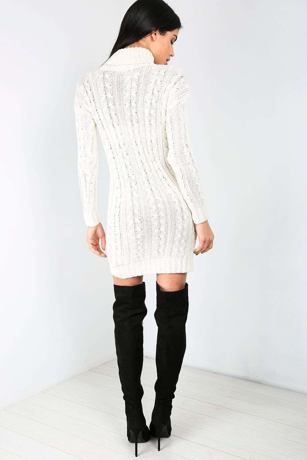 Ali Roll Neck Cable Knit Jumper Dress - bejealous-com