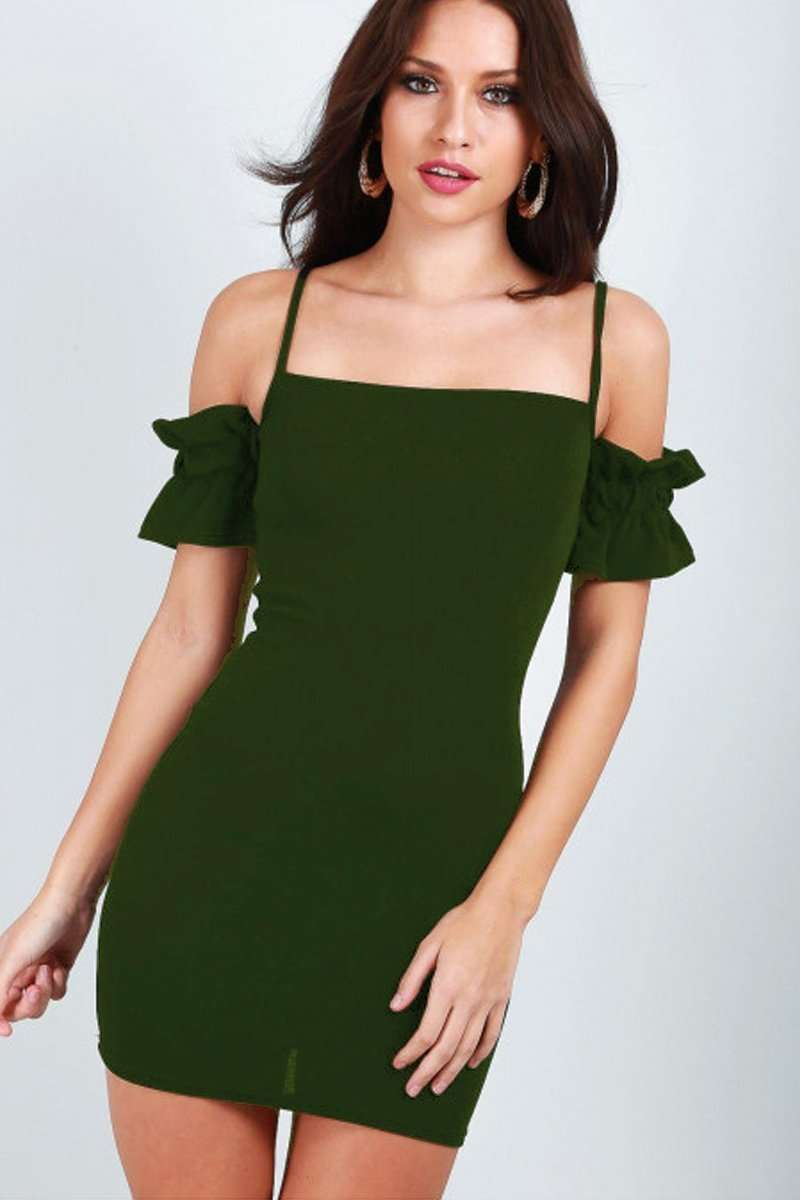 Alice Cold Shoulder Ruffle Sleeve Bodycon Dress - bejealous-com