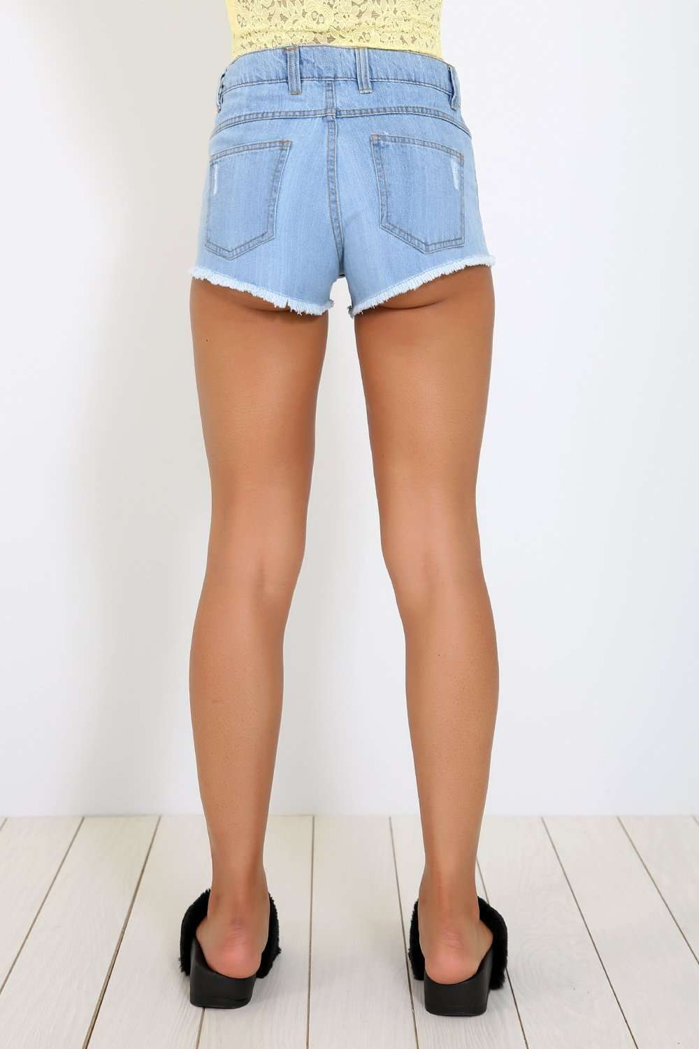 Alice High Waist Frayed Hem Denim Shorts - bejealous-com