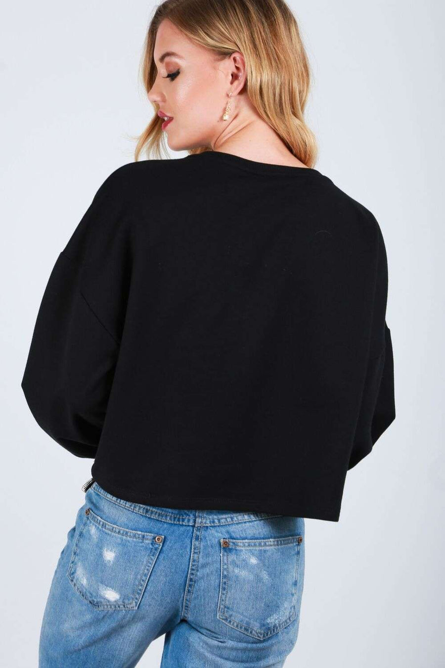Alice Tassel Front Balloon Sleeve Cropped Sweatshirt - bejealous-com