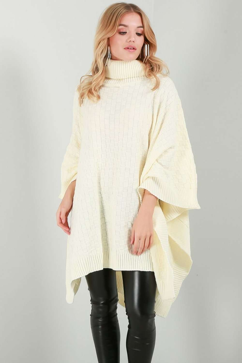 Alissia Roll Neck Oversized Knitted Poncho - bejealous-com