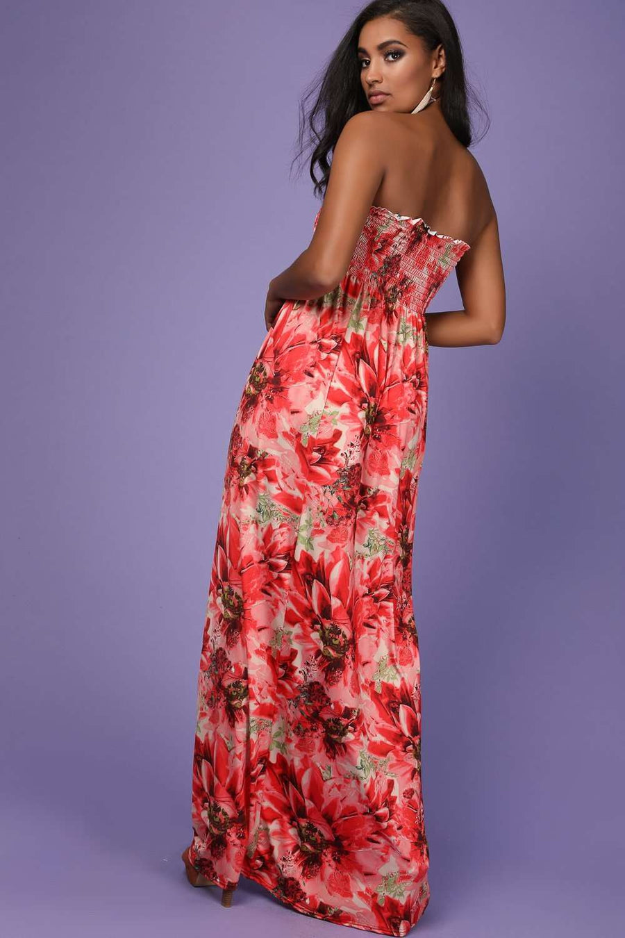 Alli Sheering Bardot Red Floral Maxi Dress - bejealous-com