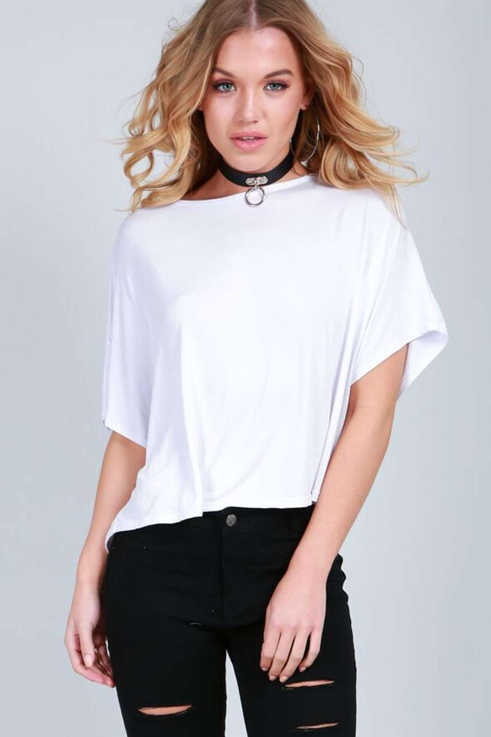 Alliah Oversized Cropped Plain Jersey Tshirt - bejealous-com