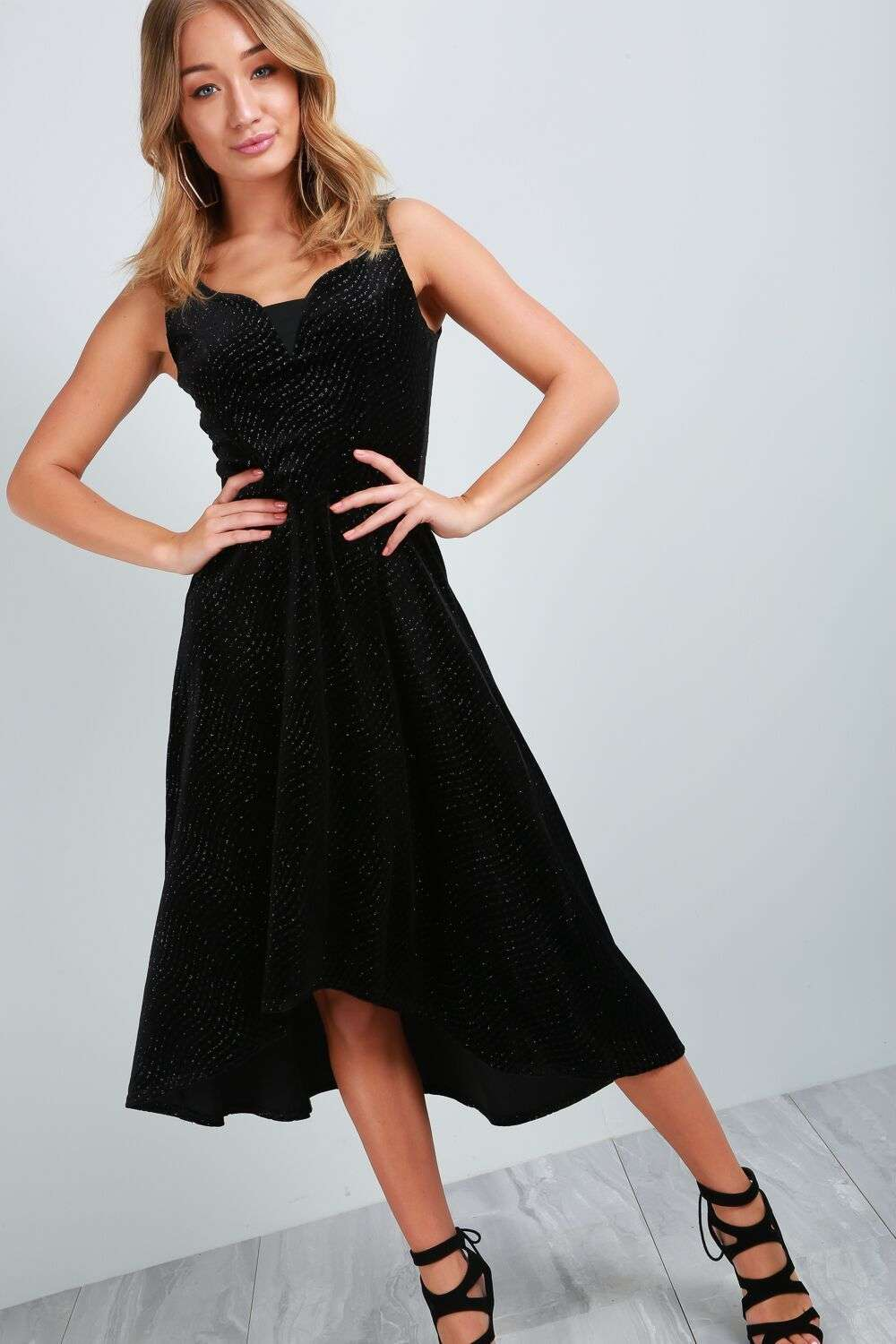 Allie V Neck Glitter Velvet Dip Hem Midi Dress - bejealous-com