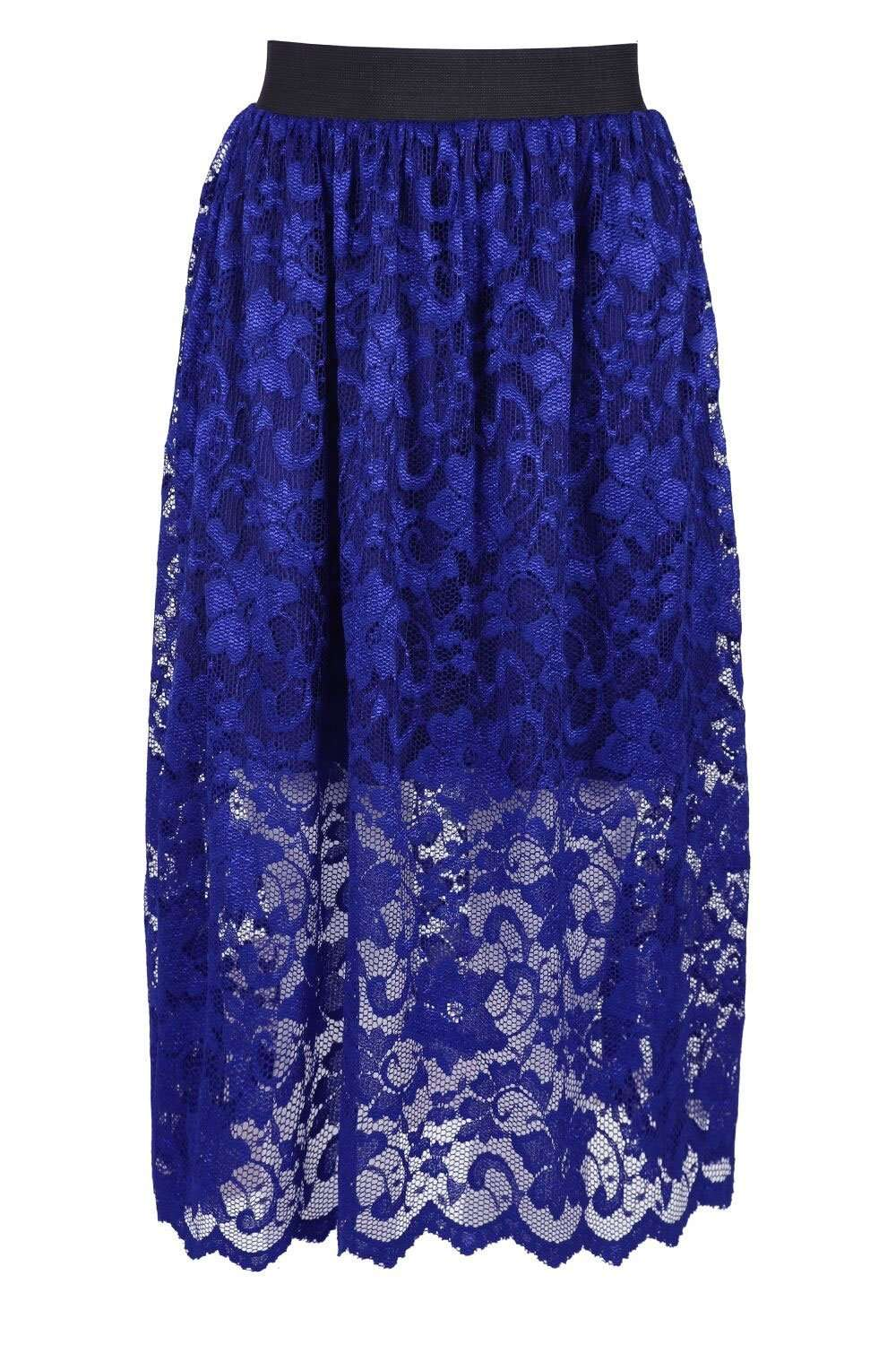 Allizia High Waist White Floral Lace Midi Skirt - bejealous-com