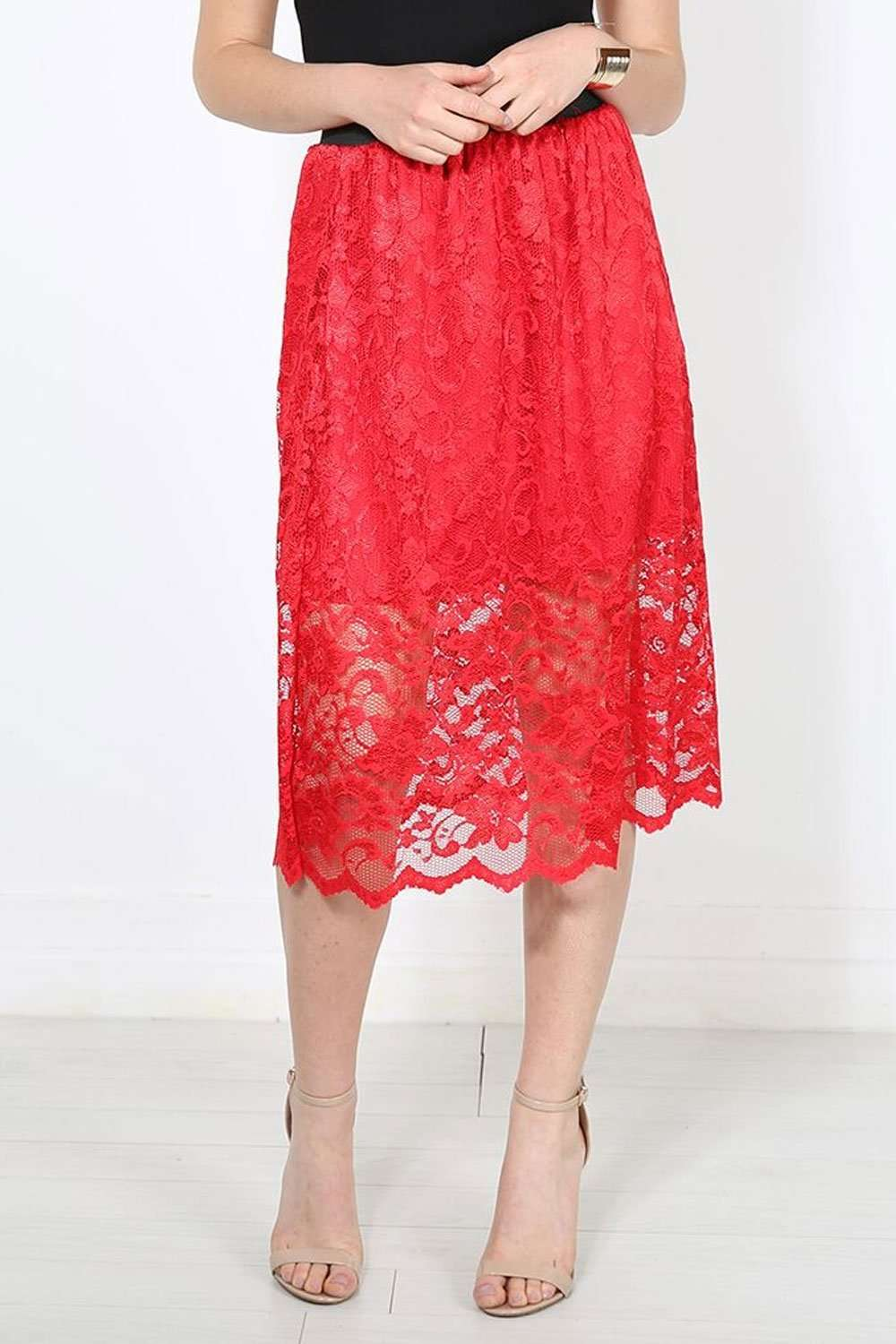 Allizia High Waisted Red Floral Lace Midi Skirt - bejealous-com