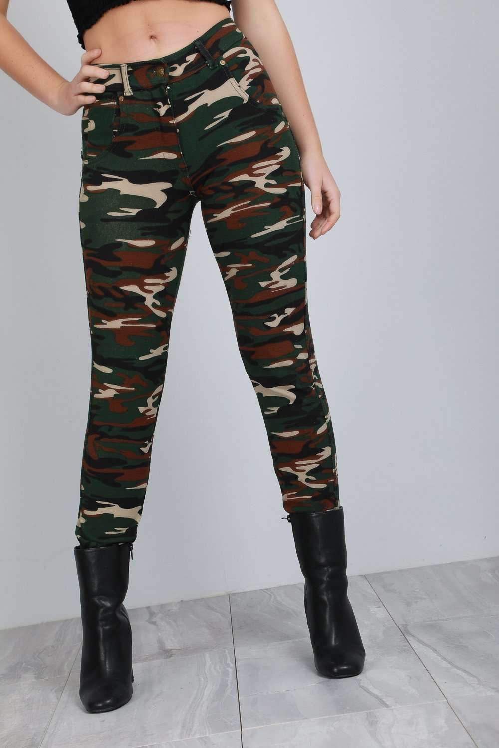 Alysia Camouflage High Waist Stretch Skinny Jeggings - bejealous-com