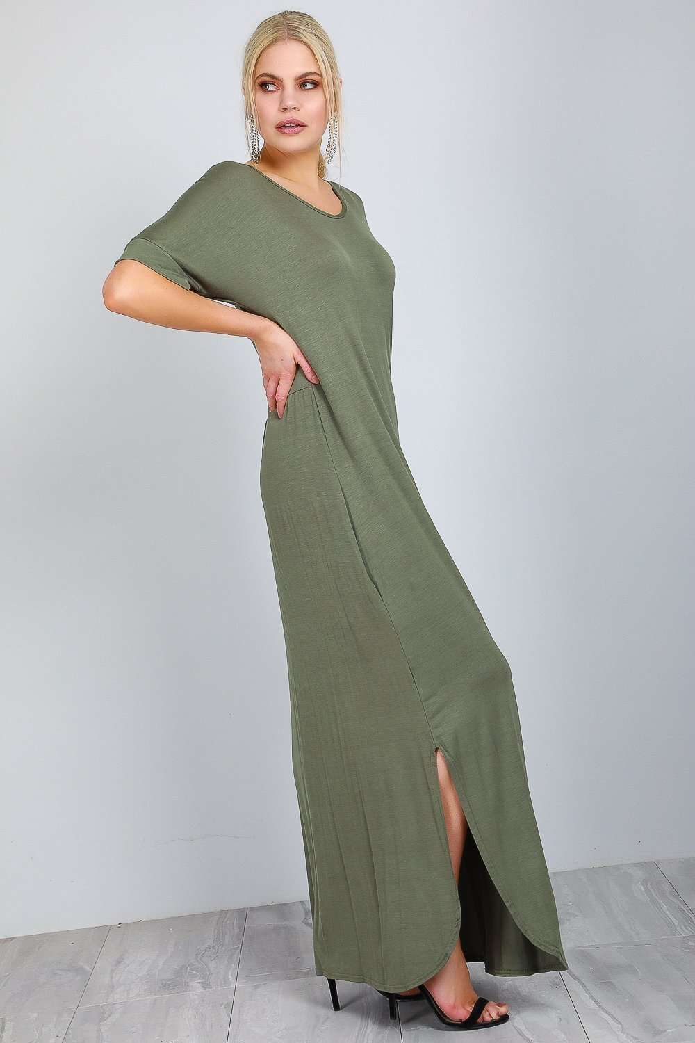 Amanda Curved Hem Basic Jersey Maxi Dress - bejealous-com