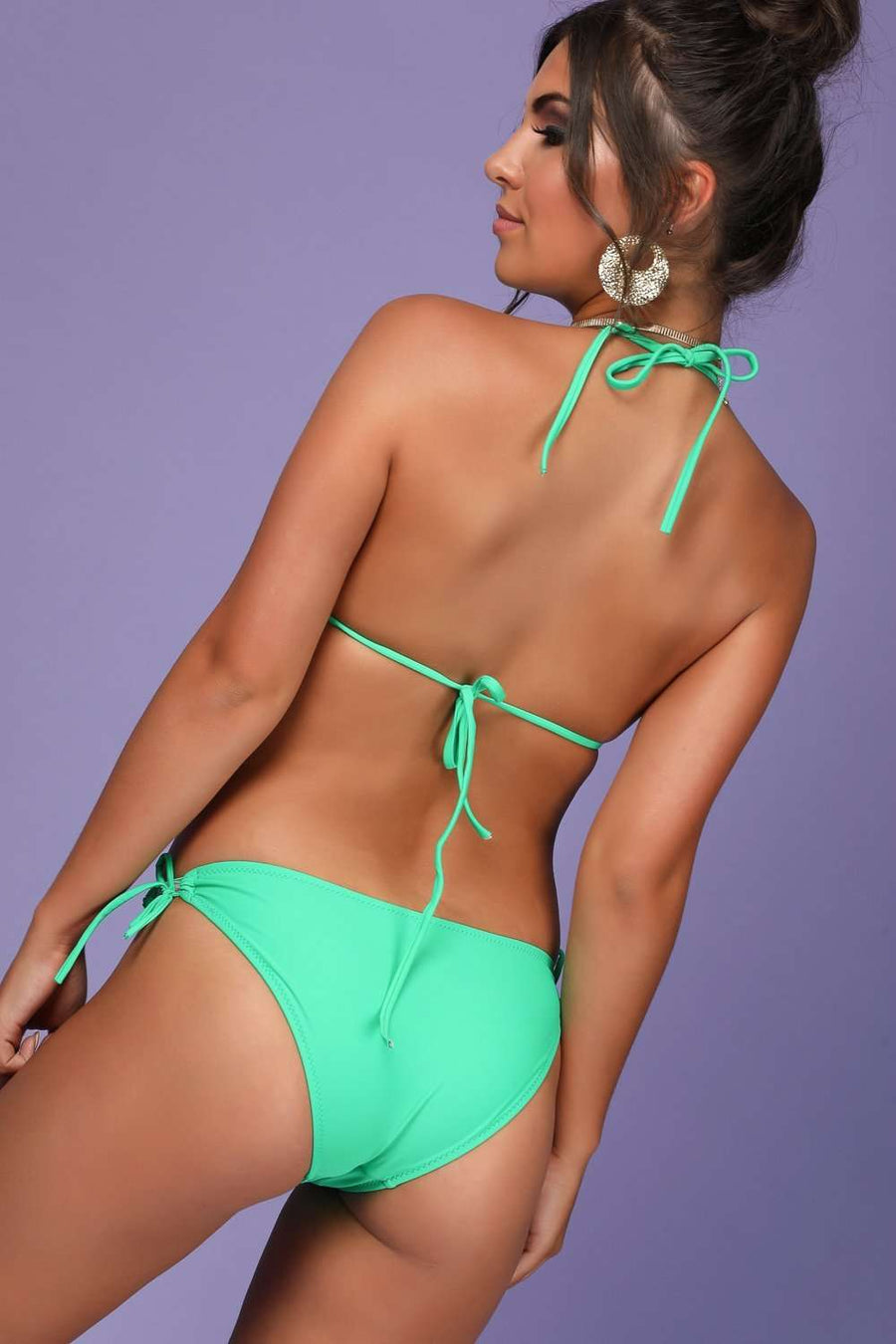Amanda Ruffle Halterneck Cut Out Swim Suit - bejealous-com