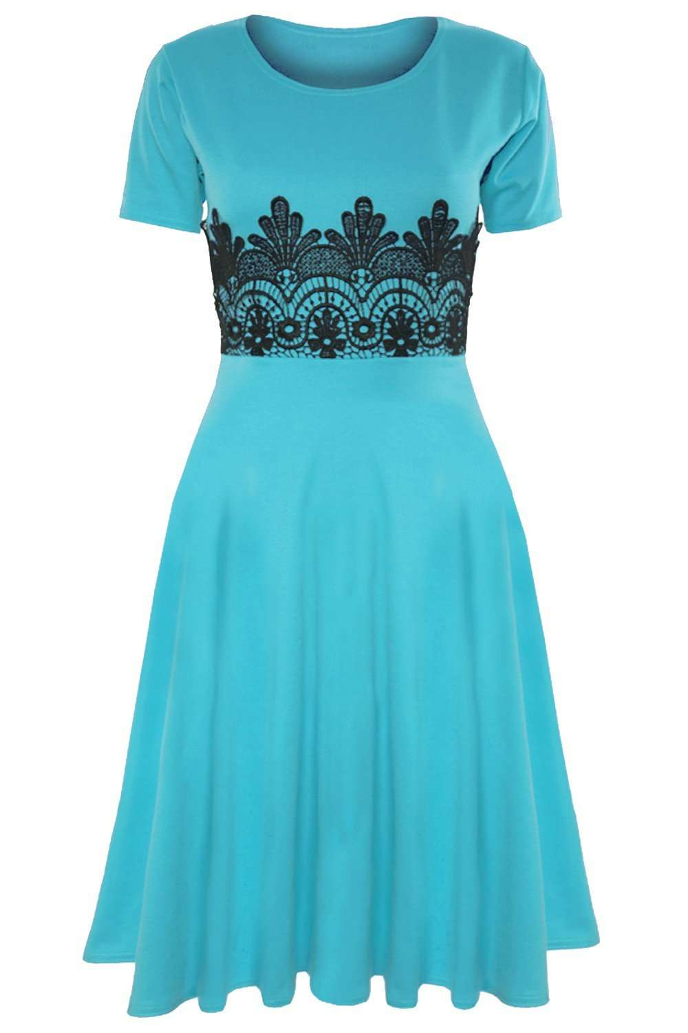 Amarah Cap Sleeve Lace Insert Midi Skater Dress - bejealous-com