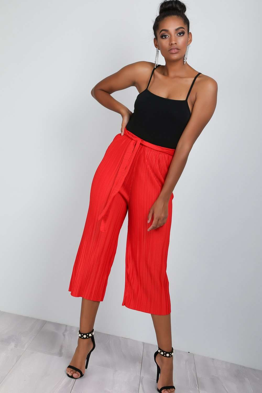 Amari High Waist Cropped Pleated Culottes - bejealous-com