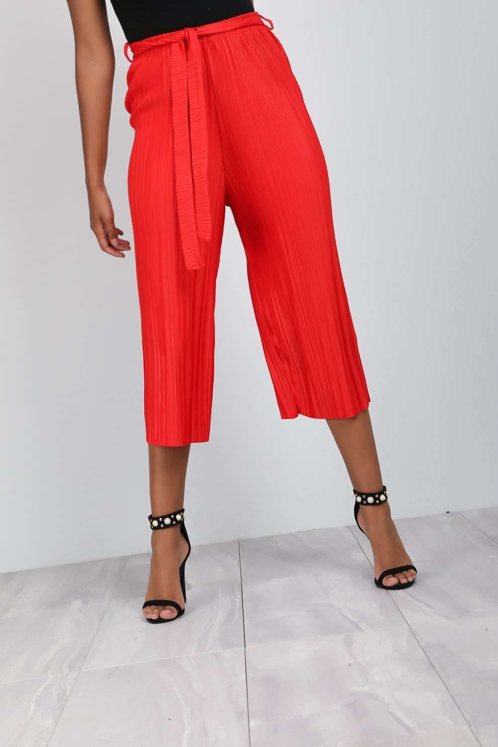 Amari Red High Waist Pleated Culottes - bejealous-com