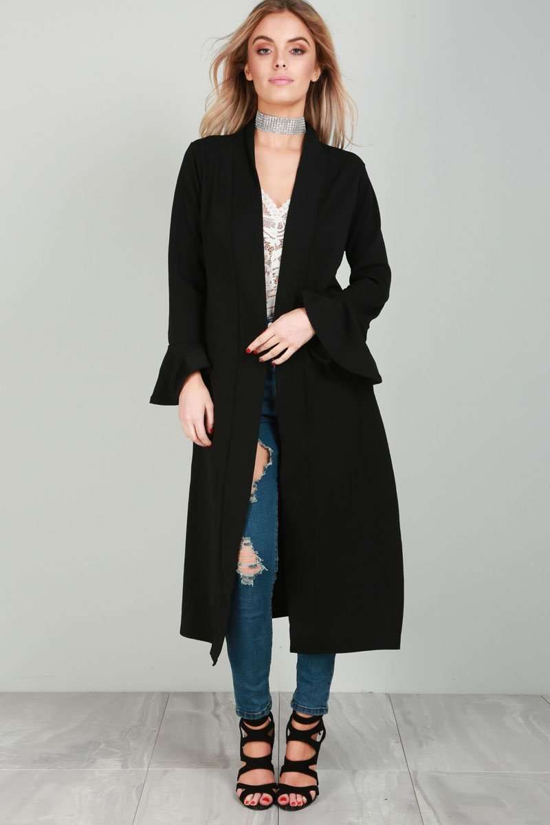 Amber Frill Sleeve Midi Trench Jacket - bejealous-com