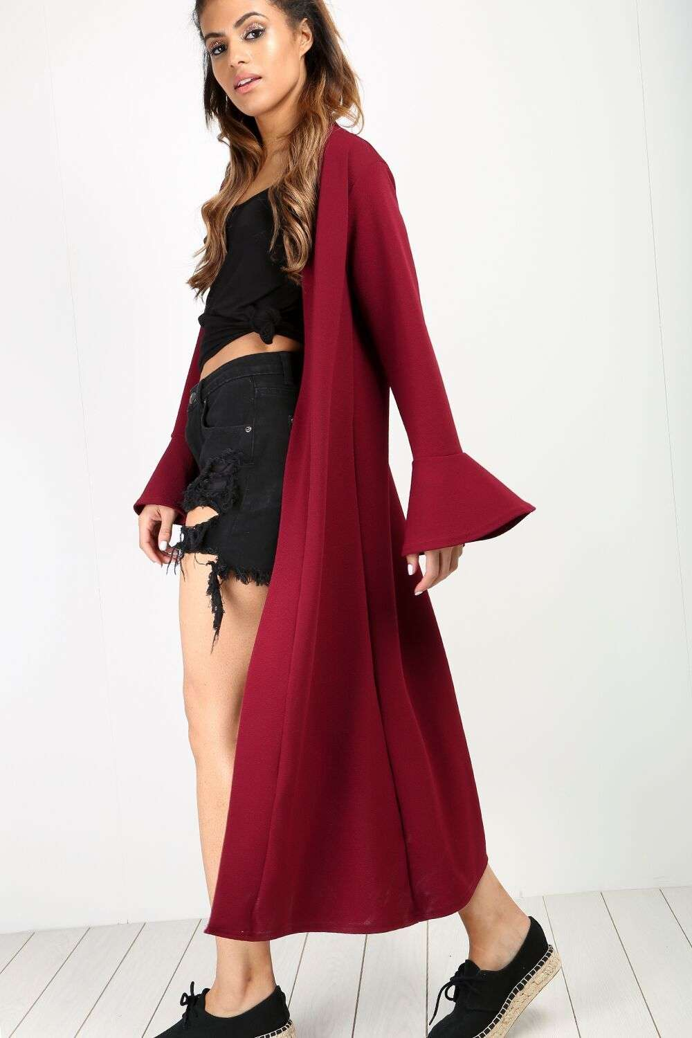 Amber Frill Trim Long Sleeve Maxi Jacket - bejealous-com