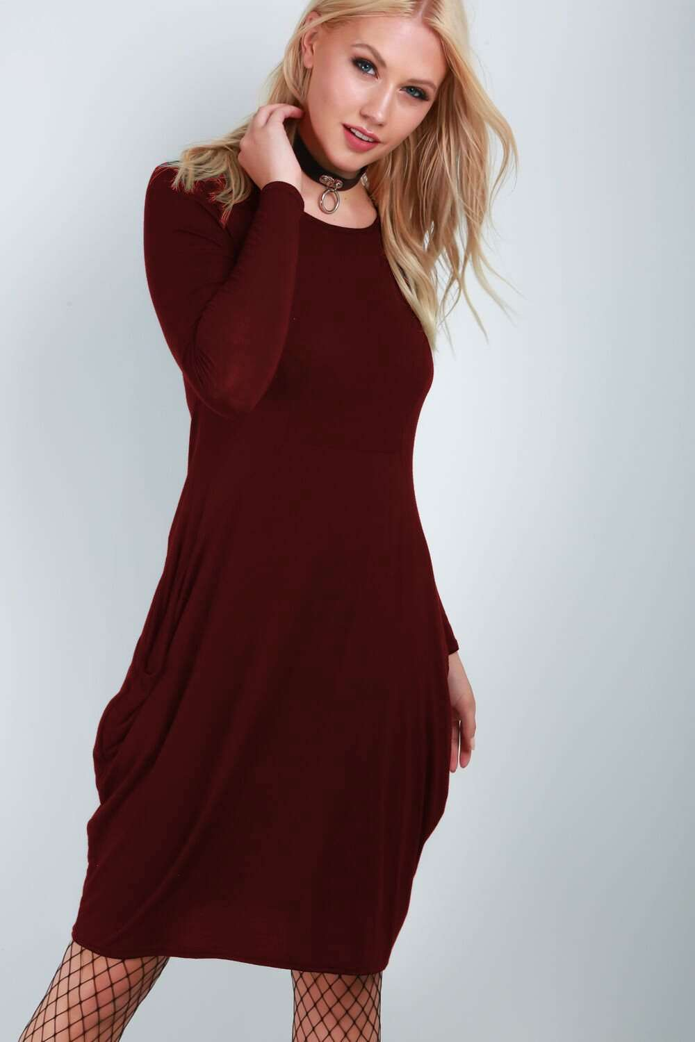 Amber Long Sleeve Draped Midi Dress - bejealous-com