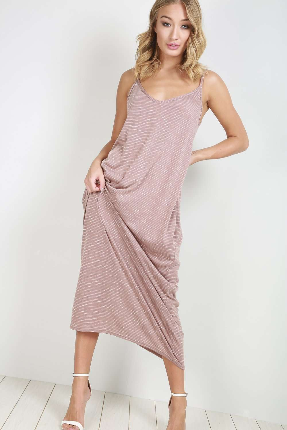 Amelia Pink Marl Knit Slinky Strappy Maxi Dress - bejealous-com