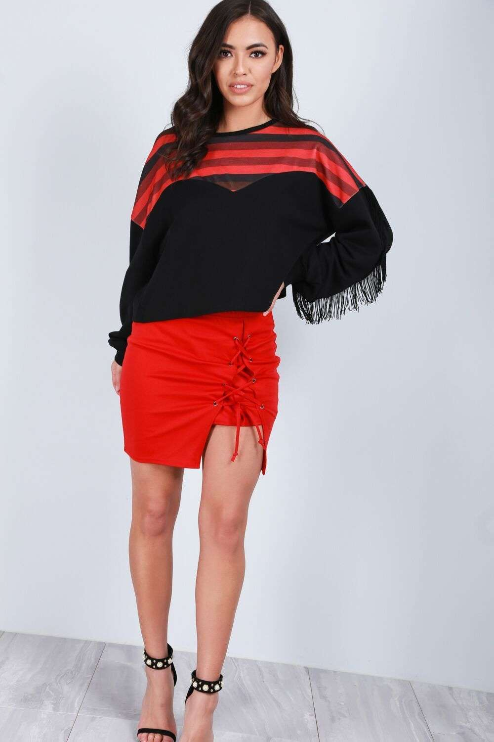 Amelia Tassel Sleeve Oversized Striped Cropped Sweater - bejealous-com