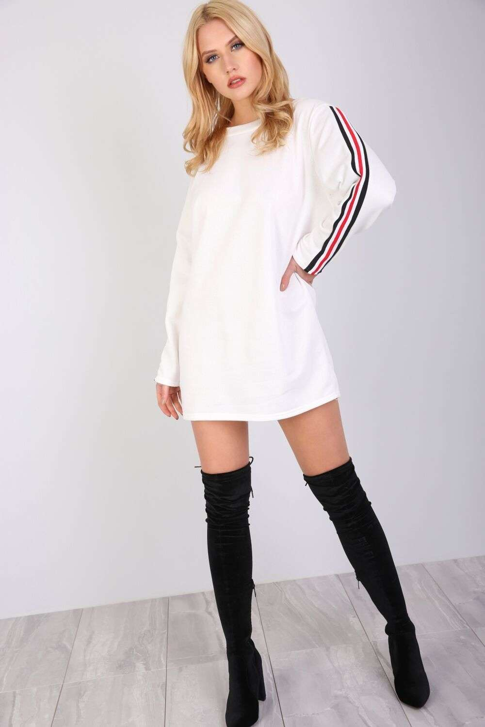 Amelie Striped Sleeve Oversized Sweater Dress - bejealous-com