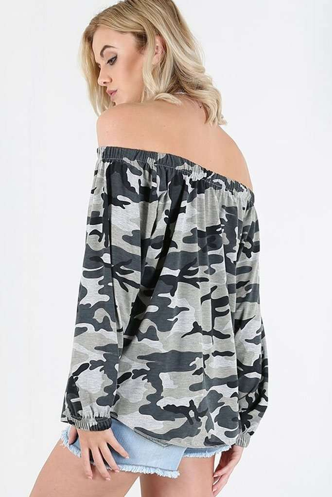 Amy Bardot Army Camo Print Baggy Top - bejealous-com