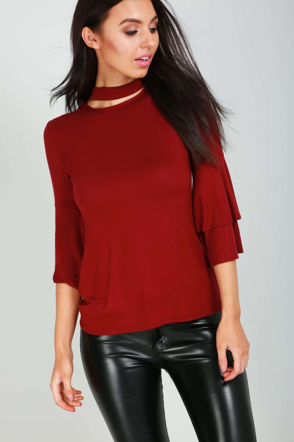 Anna Choker Neck Flare Sleeve Baggy Top - bejealous-com