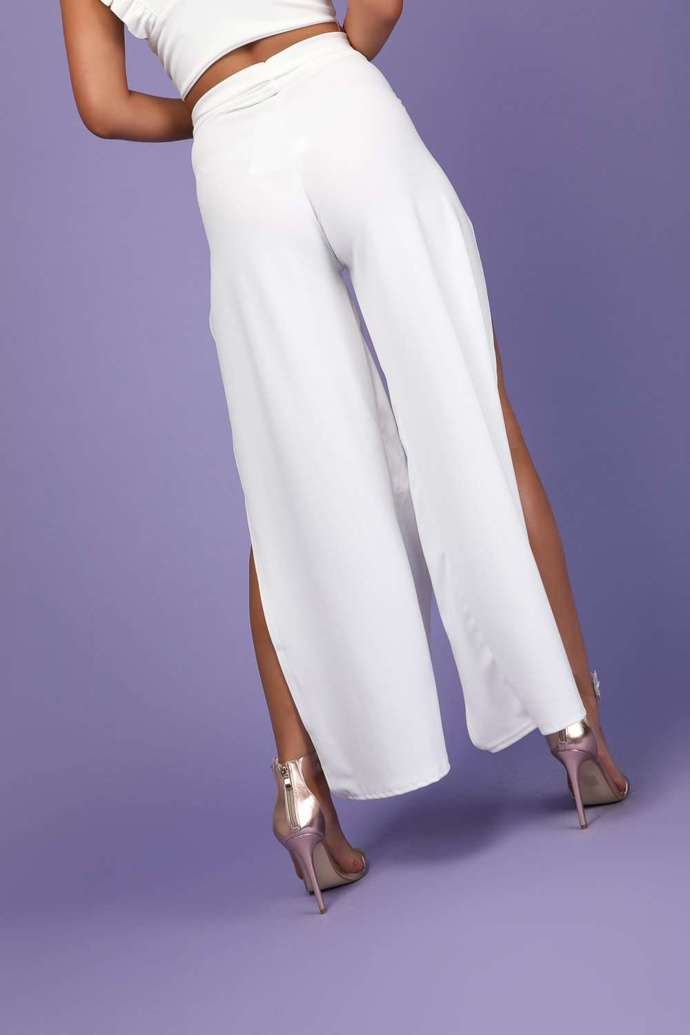Annah Belted High Waist Split Leg Trousers - bejealous-com