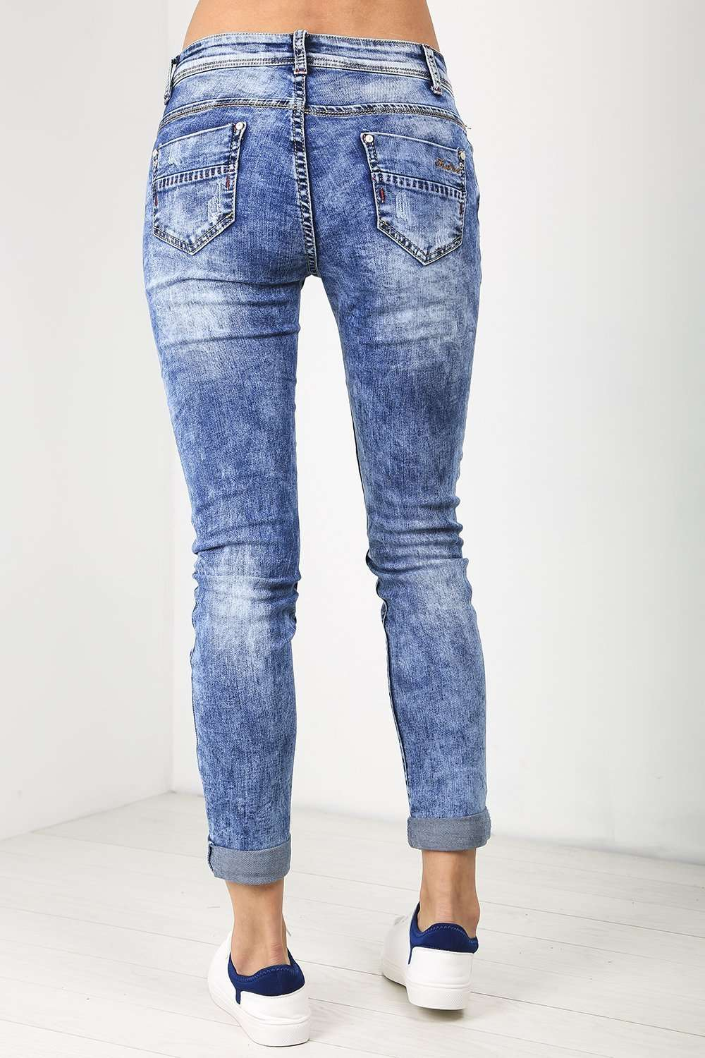 Annie Acid Wash Slim Leg Ripped Jeans - bejealous-com
