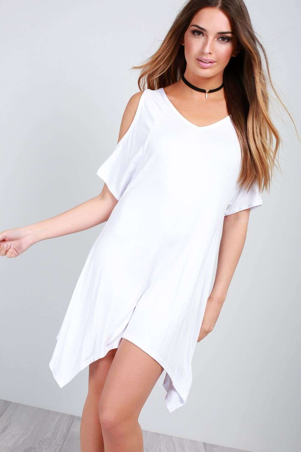 Anny Cold Shoulder Hanky Hem Mini Dress - bejealous-com