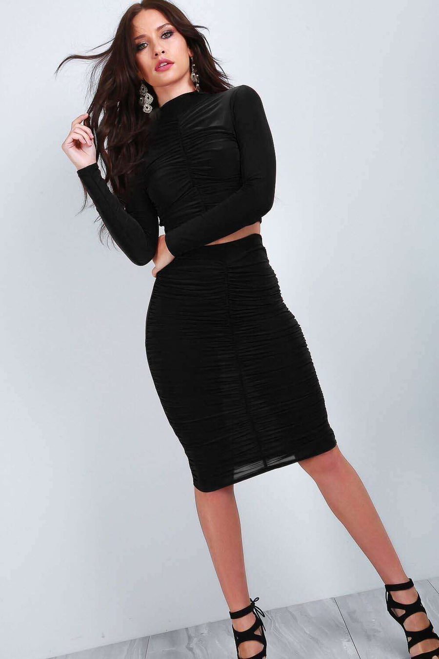 Aria Long Sleeve Crop Top & Midi  Skirt Set - bejealous-com