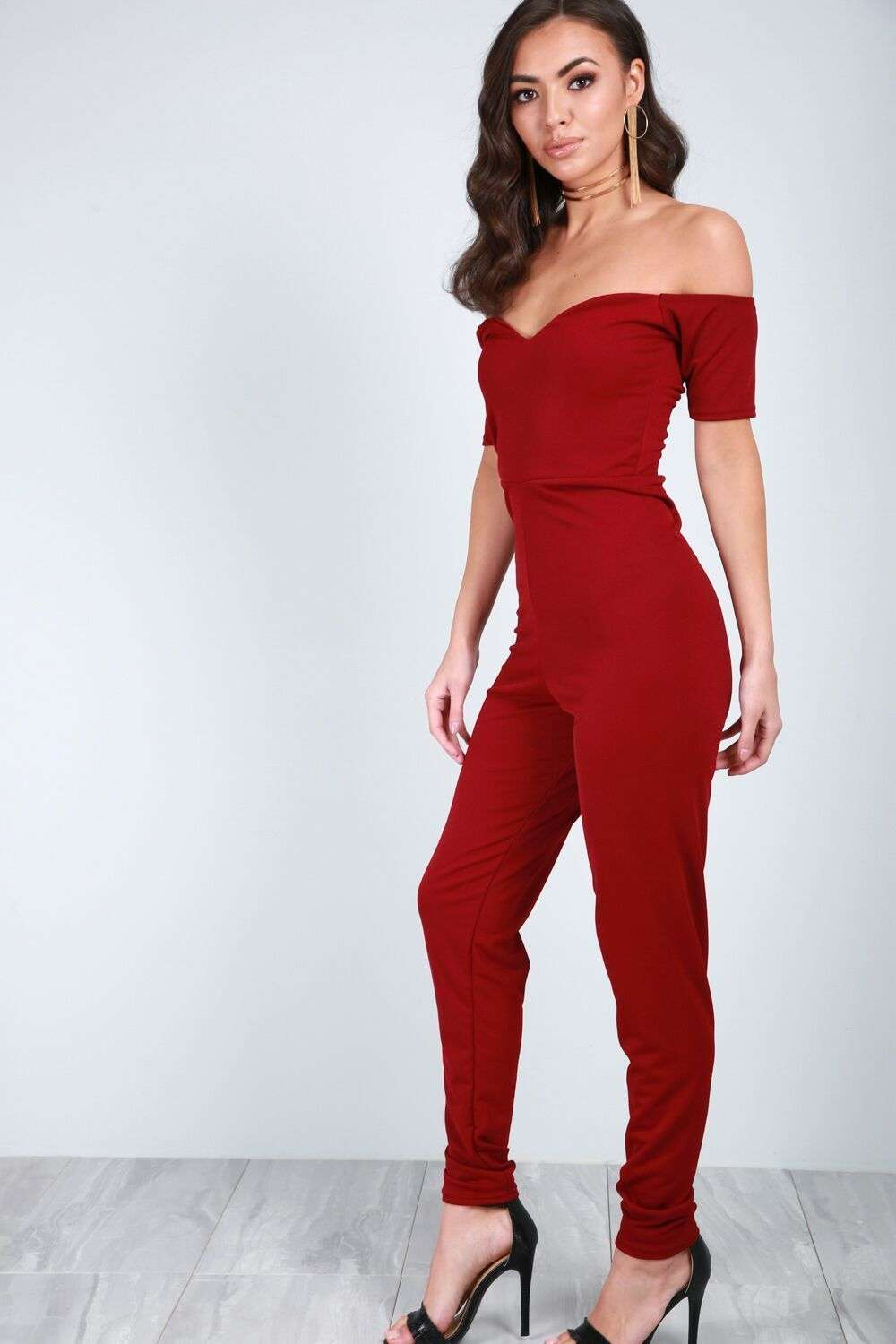 Aria Off Shoulder Vneck Slim Leg Jumpsuit - bejealous-com