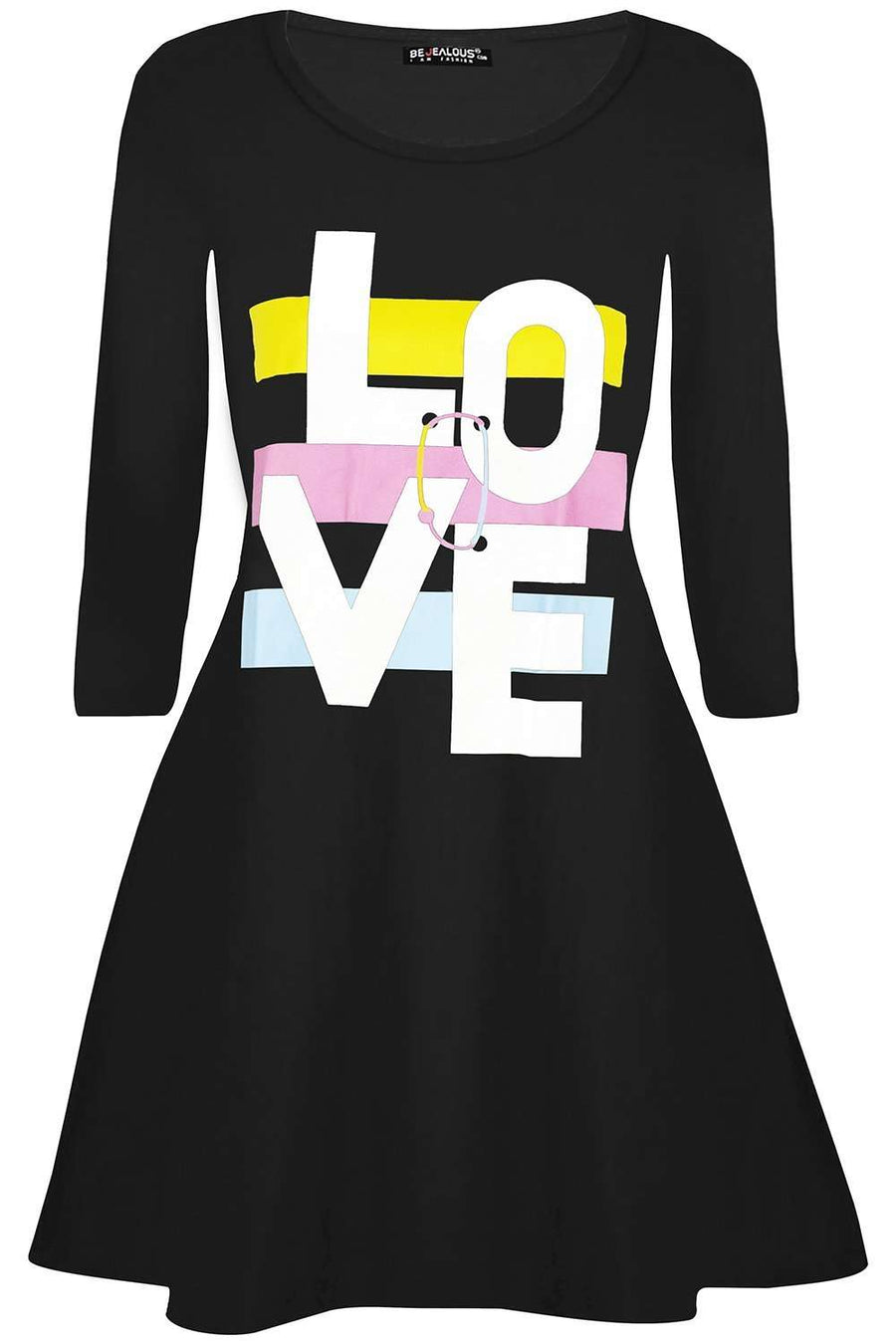 Ariana Love Slogan Print Swing Dress - bejealous-com