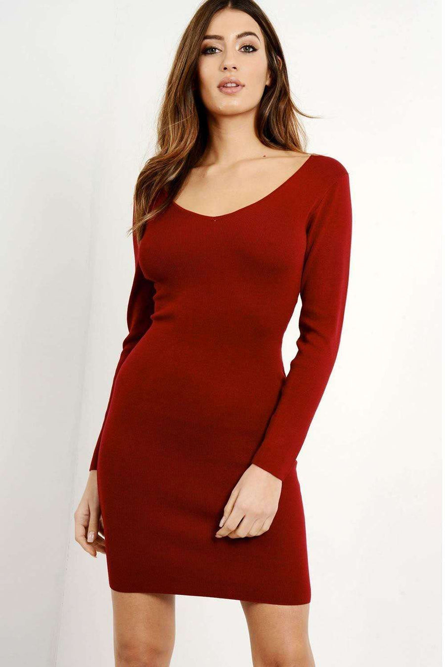 Ashlene Long Sleeve Lace Up Bodycon Dress - bejealous-com