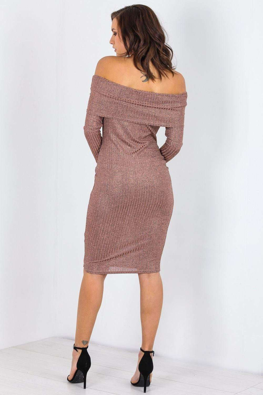 Asia Long Sleeve Bardot Metallic Fine Knit Bodycon - bejealous-com