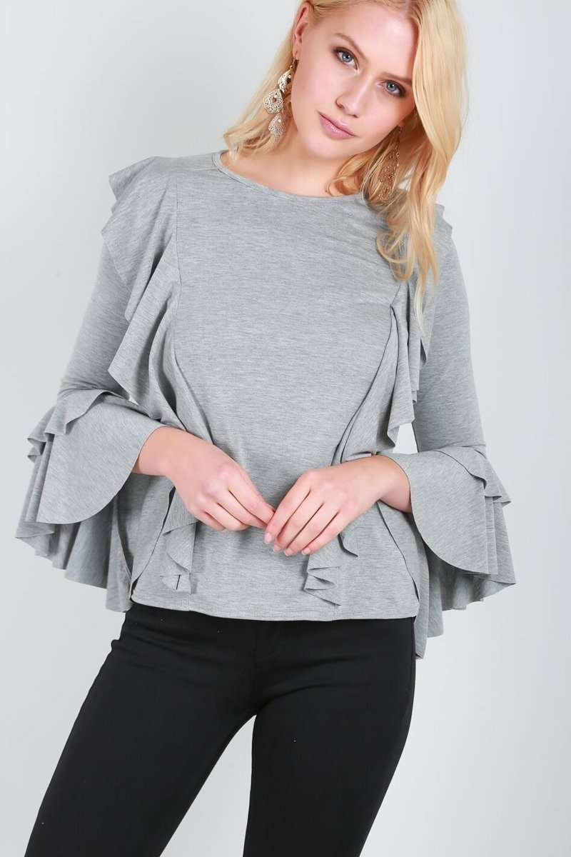 Ava Tiered Frill Sleeve Baggy Jersey Top - bejealous-com