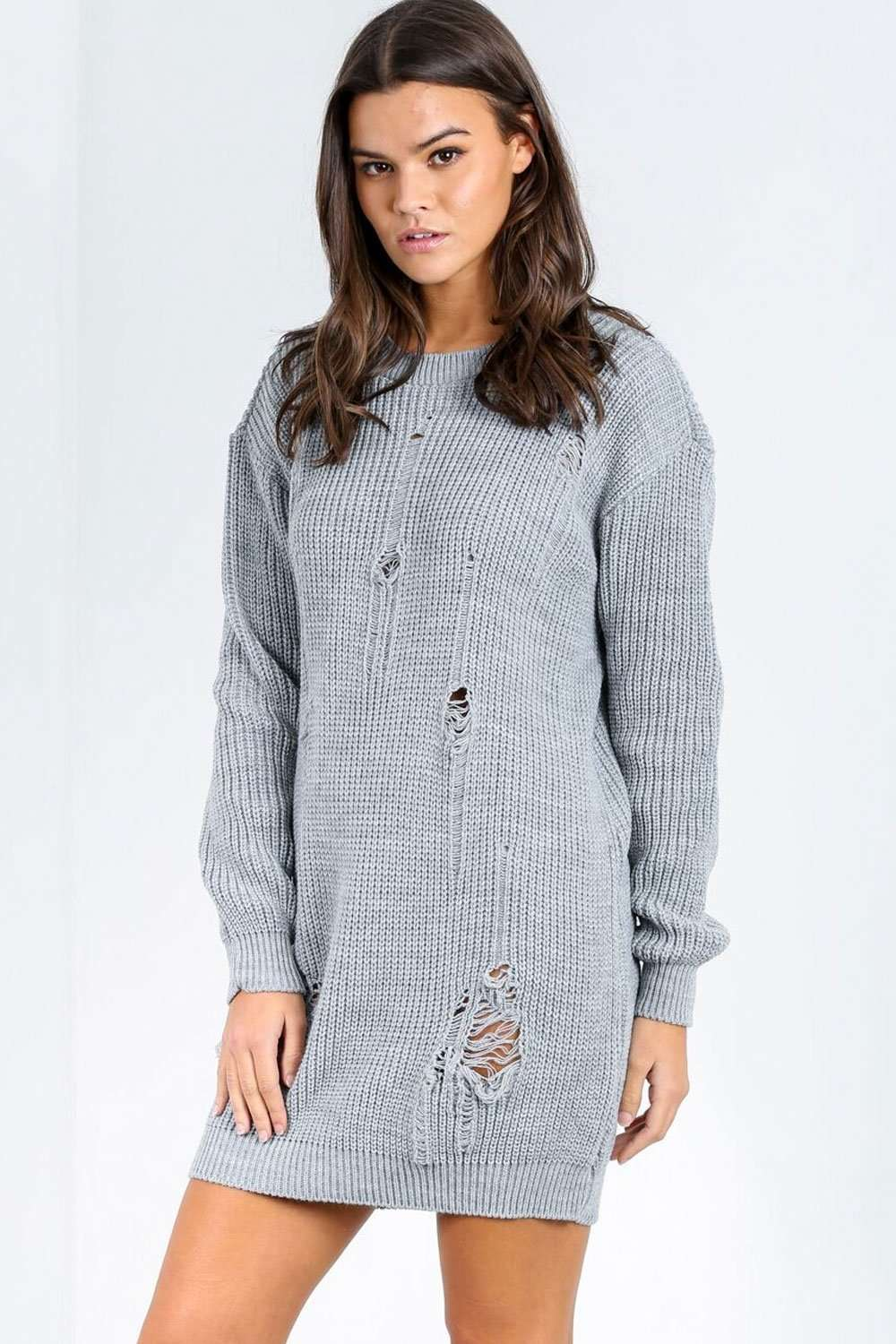 Avae Distressed Oversized Knitted Jumper Dress - bejealous-com