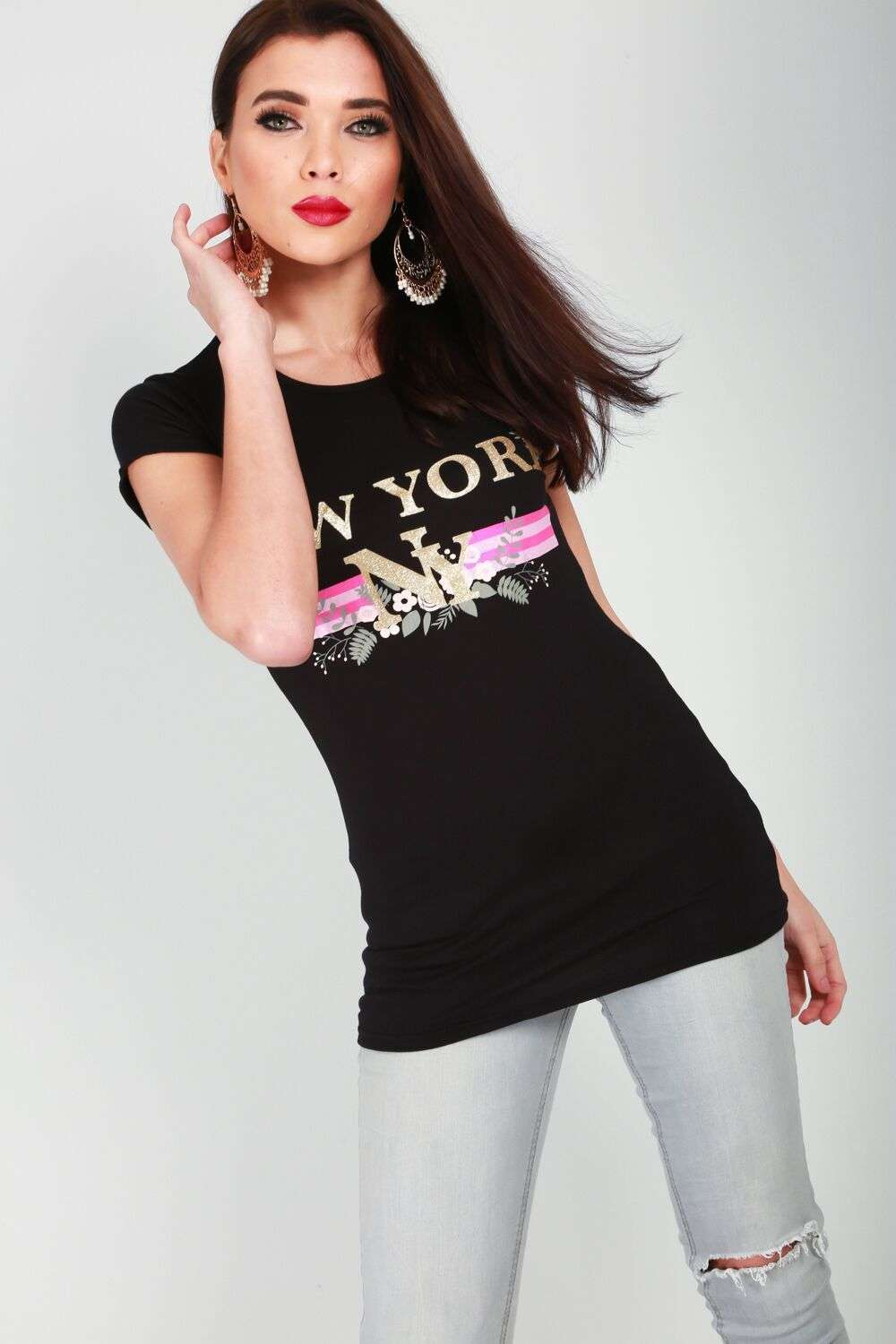 Ayla New York Slogan Print Slim Fit T-Shirt - bejealous-com