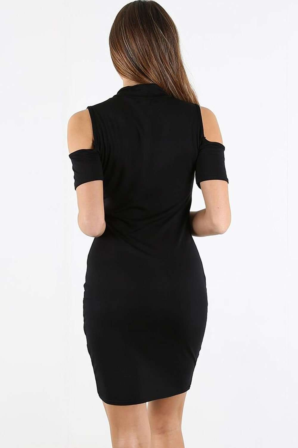 Azura Cold Shoulder Choker Bodycon Dress - bejealous-com
