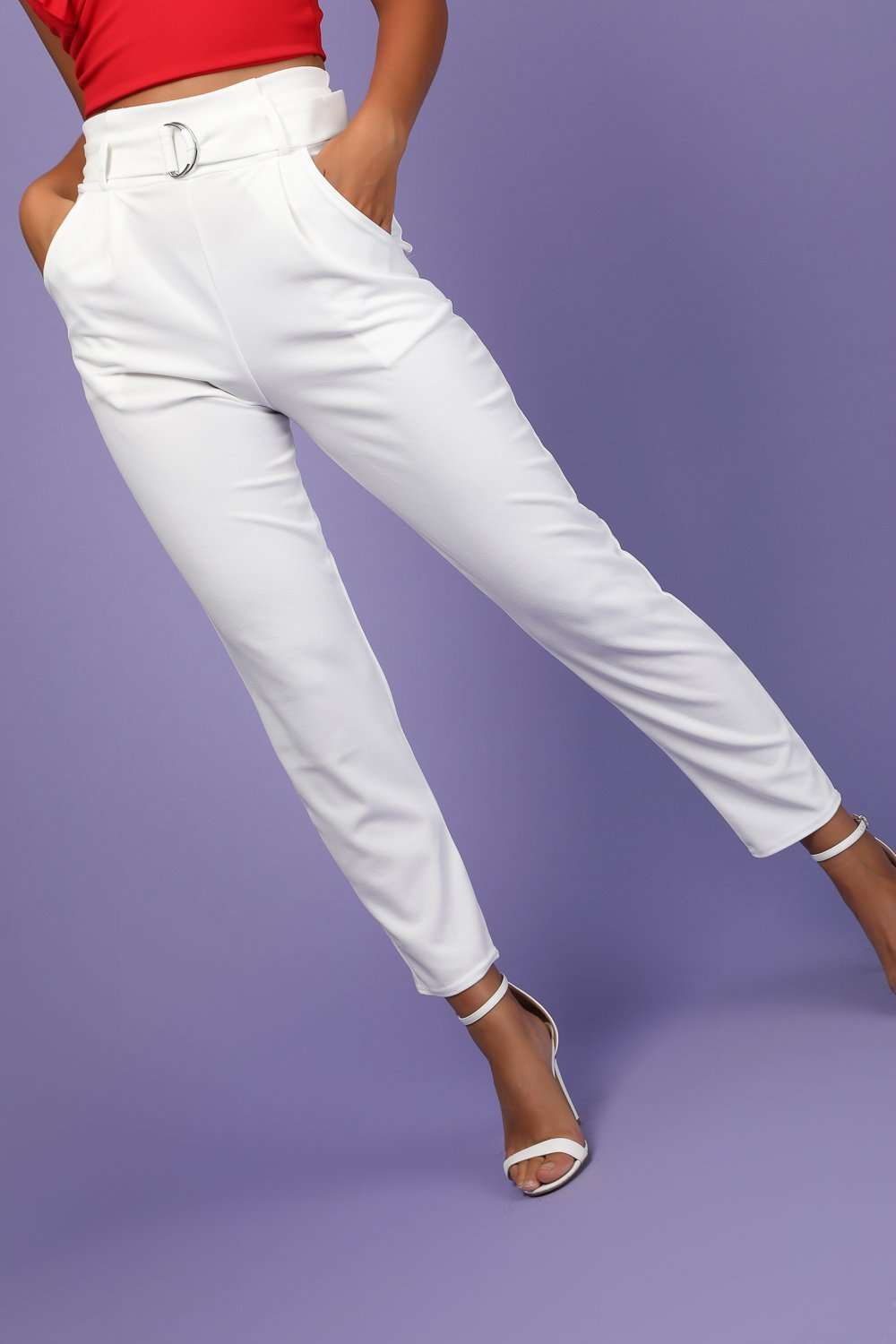 Bailee High Waist Belted Cigarette Trousers - bejealous-com
