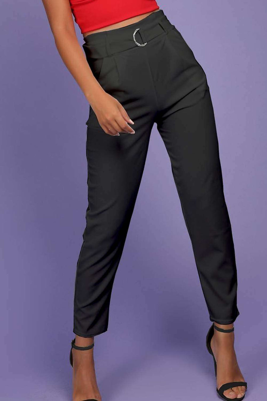 Bailee High Waist D Ring Cigarette Trousers - bejealous-com