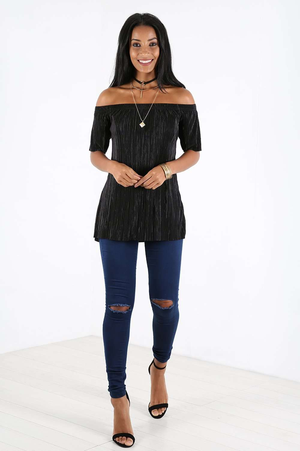 Baily Off Shoulder Metallic Pleated Top - bejealous-com