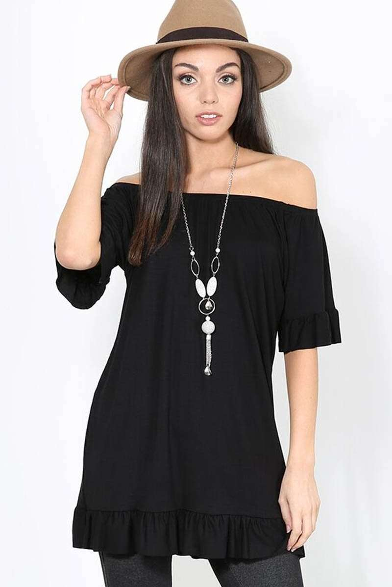 Bardot Frilly Loose Fit Basic Top With Necklace - bejealous-com
