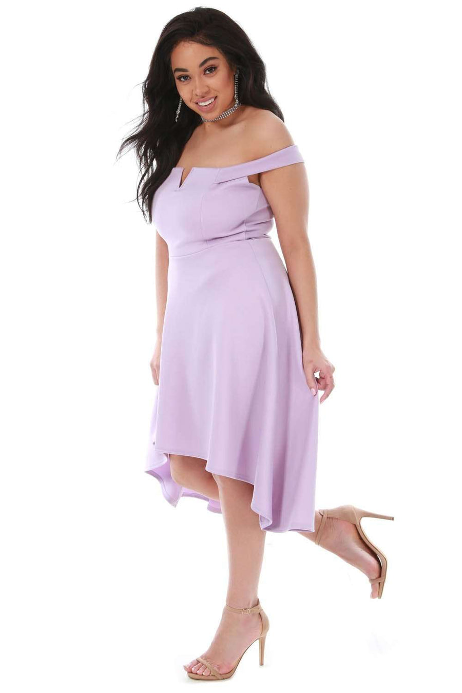 Bardot Plus Size Lilac Dipped Hem Midi Swing Dress - bejealous-com