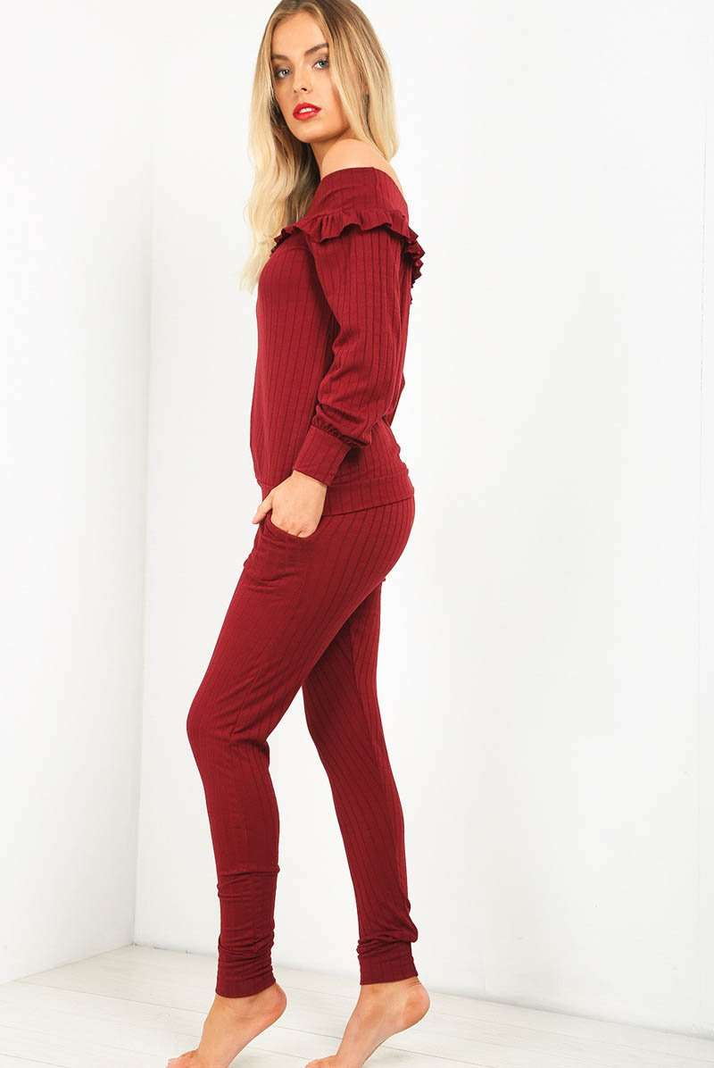 Bardot Ribbed Knitted Lounge Wear Coord - bejealous-com