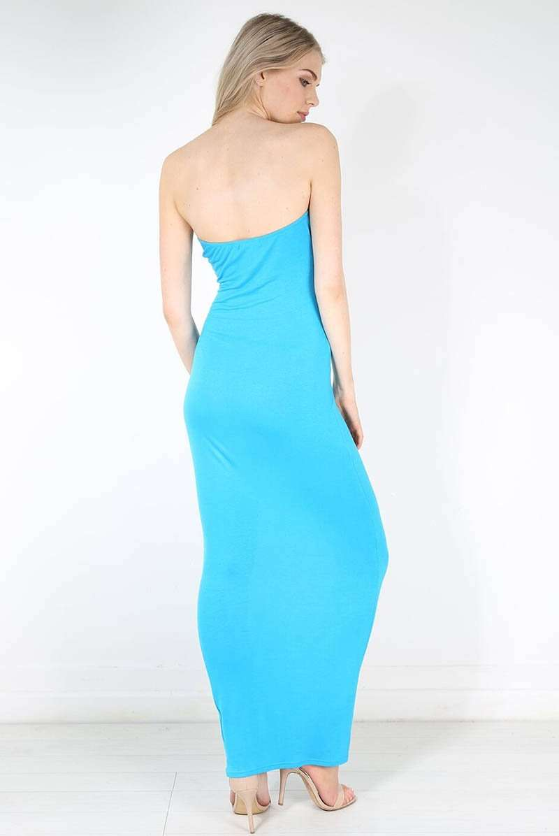 Basic Jersey Bandeau Strapless Bodycon Maxi Dress - bejealous-com